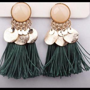 Bohemian Fringe Earrings Green Pretty Brand New